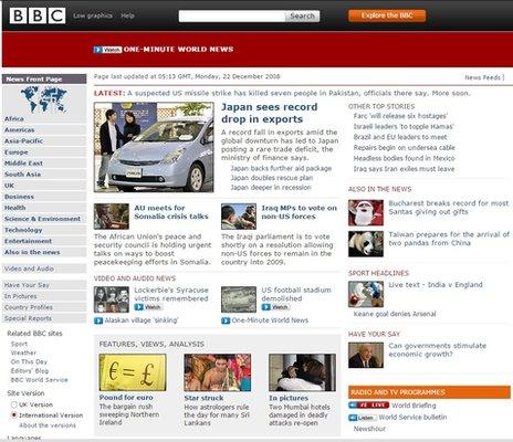 BBC News site in 2008