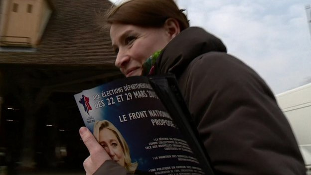 National Front candidate Mireille Chevet on the campaign trail