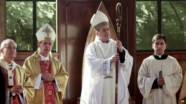 Bishop Juan Barros, third from left, ordination in Osorno