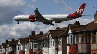 A Virgin Atlantic plane landing at Heathrow