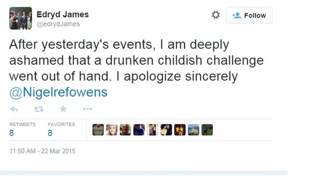 Twitter user Edryd James apologises for Nigel Owens tweet