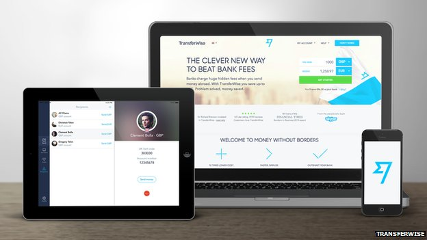 TransferWise online products on display