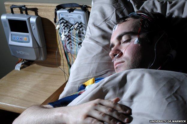 Man taking part in a sleep study