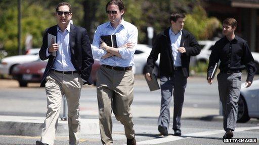 Men crossing road in Silicon Valley