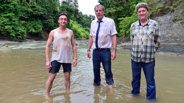 Top Gear hosts Richard Hammond, Jeremy Clarkson and James May