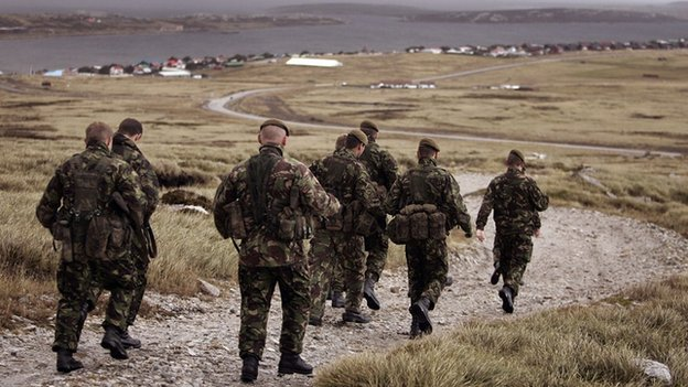 Falklands Islands Defence Force take part in a training exercise in Stanley in 2007