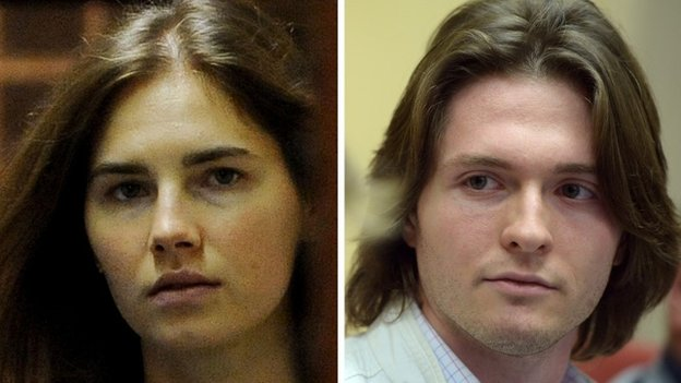 A combination of two pictures shows Italian Raffaele Sollecito (R) during a press conference on July 1st, 2014 in Rome and Amanda Knox, US national accused with former lover Sollecito of the 2007 murder of her housemate Meredith Kercher, as she arrives at the court during the resumption of her appeal trial in Perugia on September 30, 2011