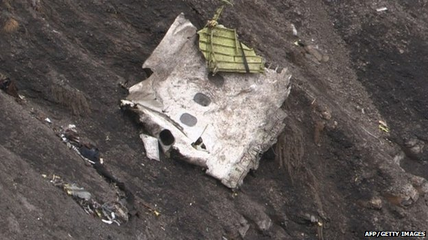 Debris of the Airbus A320 at the crash site in the French Alps