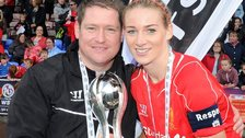 Liverpool Ladies boss Matt Beard (left) and Gemma Bonner