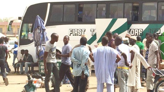 A coach at the bus station in Sabon Gari in Kano, Nigeria