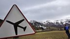 Sign warning of low flying aircraft near the spot where a Germanwings airbus crashed, 24 March 2015