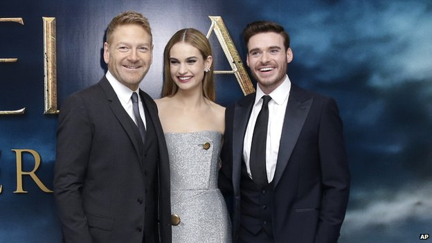 Sir Kenneth Branagh with Lily James and Richard Madden at Cinderella's UK premiere