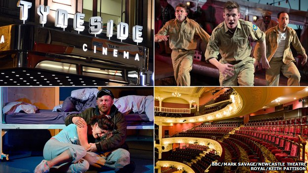 Clockwise from top left: Tyneside Cinema, Catch-22 at Northern Stage, Theatre Royal Newcastle, Wet House at Live Theatre