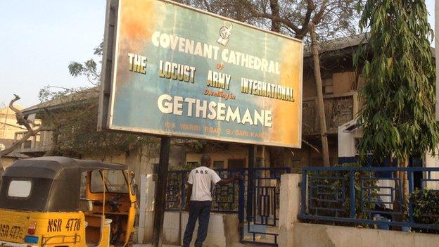 A church sign in Kano, Nigeria