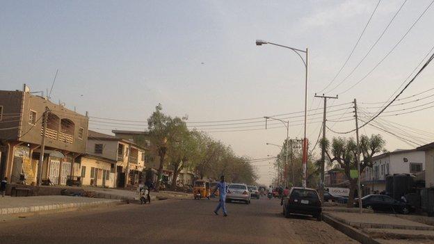 A road in Sabon Gari in Kano, Nigeria