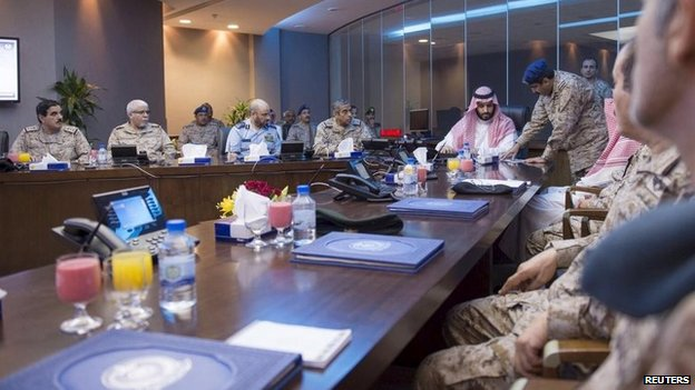 Saudi Defence Minister Prince Mohammad bin Salman (C) is briefed by officers on the military operations in Yemen (26 March 2015)