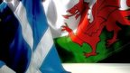 Saltire and Wales flags