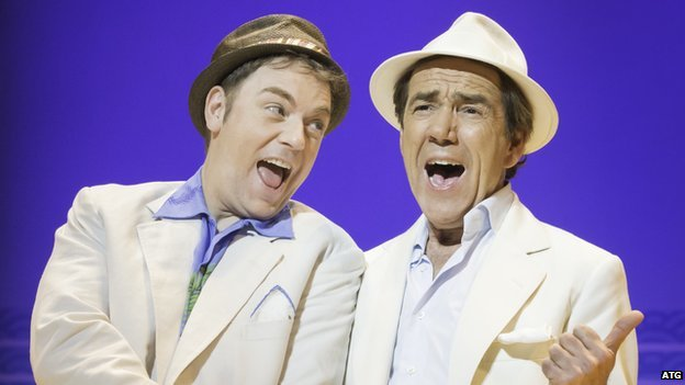 Rufus Hound and Robert Lindsay staring in the musical Dirty Rotten Scoundrels at ATG's Savoy Theatre