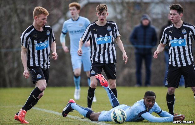 Newcastle United play Manchester City in the Premier League Barclays Under-18 league