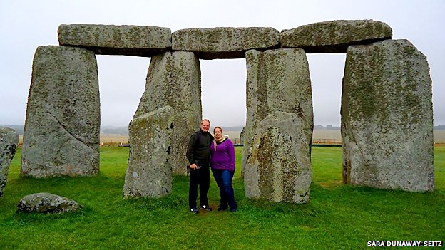 This picture of Sara Dunaway-Seitz and her husband on their honeymoon at Stonehenge