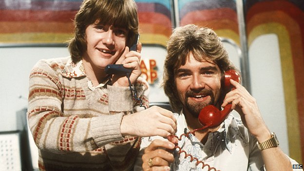 Noel Edmonds on Multi-coloured Swap Shop with sidekick Keith Chegwin