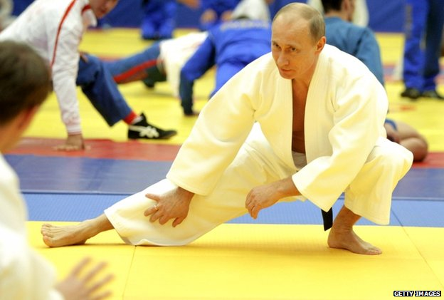 Russia's Prime Minister Vladimir Putin takes part in a judo training session at in Moscow in December 2010