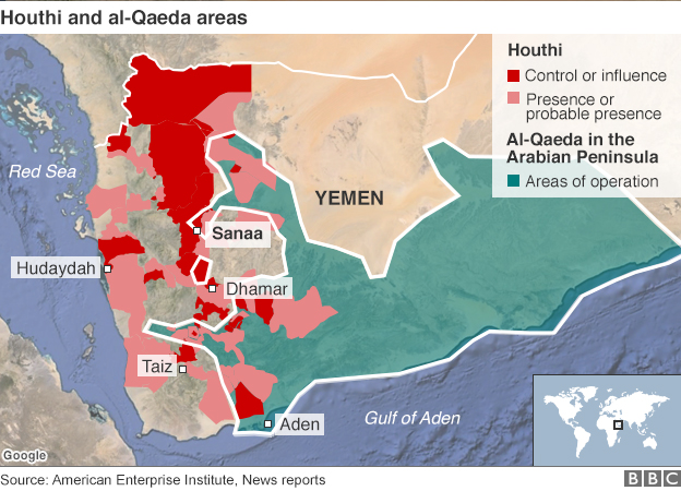 Map showing Houthi and al-Qaeda areas of influence