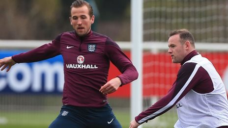 England strikers Wayne Rooney (right) and Harry Kane