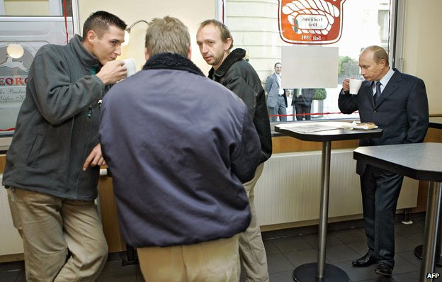 Putin en un café en Dresden en 2006