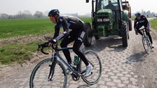 Team Sky on a cobbled classic recce