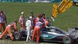 Lewis Hamilton crashes out of first practice