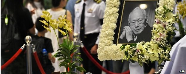 Lee Kuan Yew's orchid is displayed as he lies in state in Parliament House