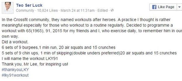 Teo Ser Luck Facebook post