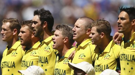 Australia's players sing their national anthem