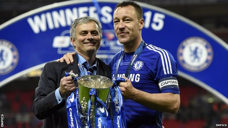 Chelsea manager Jose Mourinho (left) and John Terry