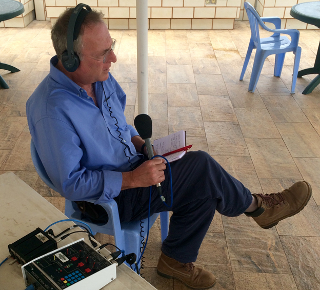 Mark Doyle broadcasting from Freetown, Sierra Leone