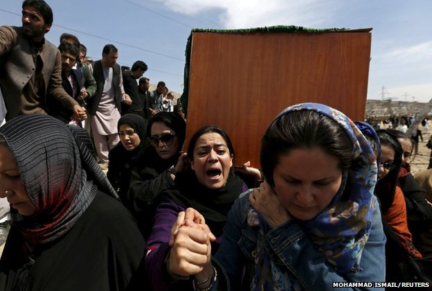 Afghan women's rights activists carry the coffin of Farkhunda