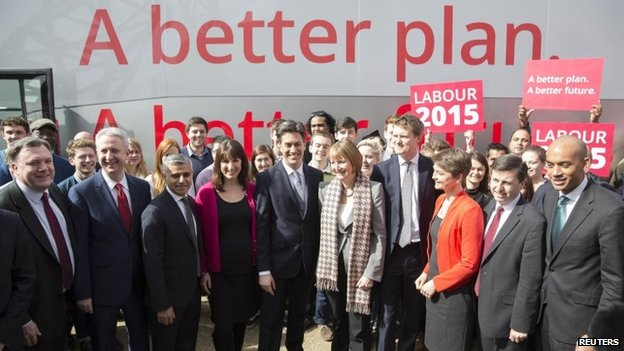 Ed Miliband and his shadow cabinet launching their election battle bus