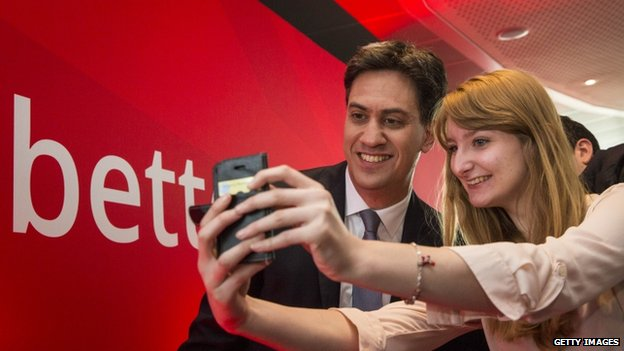 Ed Miliband posing for a selfie photo after Friday's speech