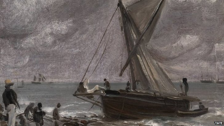 Beaching A Boat, Brighton, 1824, by John Constable