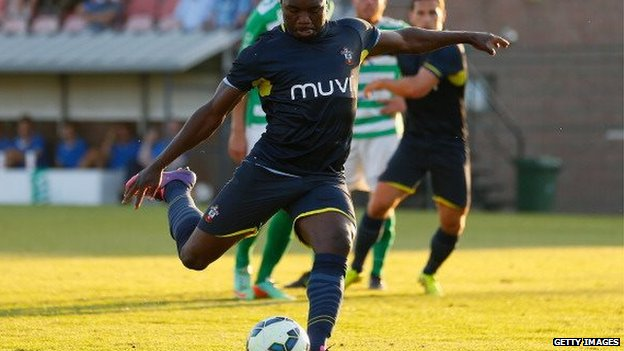Emmanuel Mayuka of Southampton scores a penalty during the pre-season friendly match between KSK Hasselt and Southampton at the Stedelijk Sportstadion on 17 July 2014 in Hasselt, Belgium