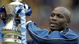 In May 2000 George Weah then playing for Chelsea lifts the FA Cup after the final against Aston Villa at Wembley Stadium in London
