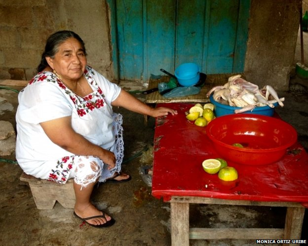 Sofía Cocom wears the traditional garb of Mayan women in Mexico's Yucatán Peninsula. CoCom is against her son's wish to migrate illegally to the United States to work.