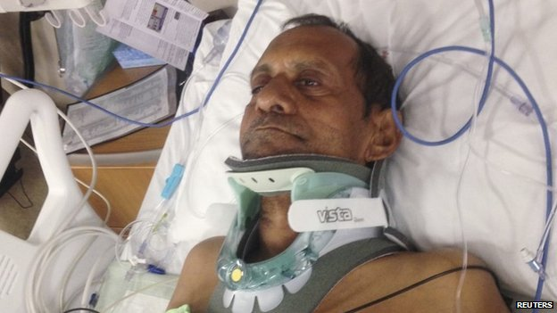 Sureshbhai Patel was seriously hurt and spent several days in hospital