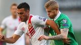 Brian Perez of Gibraltar (left) and James McClean of Republic of Ireland
