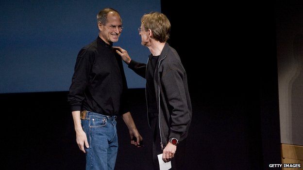 John Doerr, one of the firm's venture capitalists, on stage with Apple's Steve Jobs in 2008
