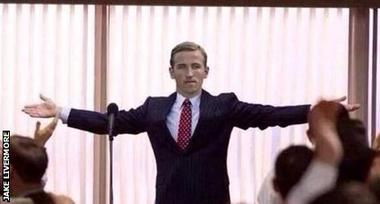 Harry Kane as the Wolf of Wall Street