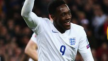 Danny Welbeck celebrates scoring for England against Lithuania