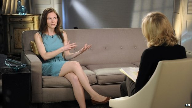 Amanda Knox being interviewed by Diane Sawyer on US television