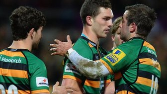 George North and Northampton players celebrate
